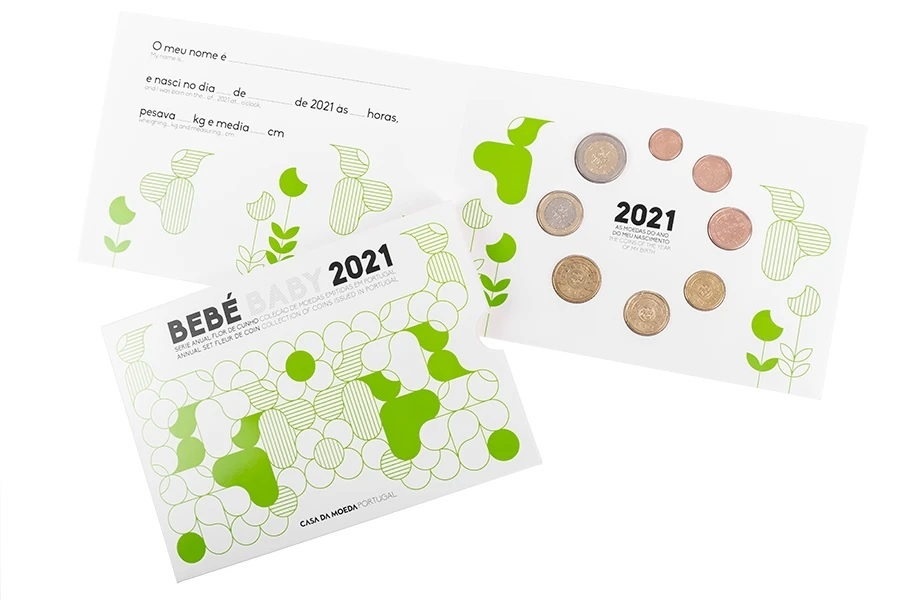(EUR15.FDC.set.2021.1022807) Uncirculated coin set Portugal 2021 - Baby birth (open) (zoom)