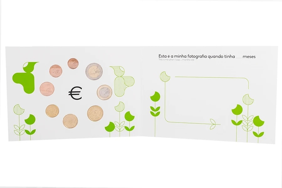 (EUR15.FDC.set.2021.1022807) Uncirculated coin set Portugal 2021 - Baby birth (reverses) (zoom)