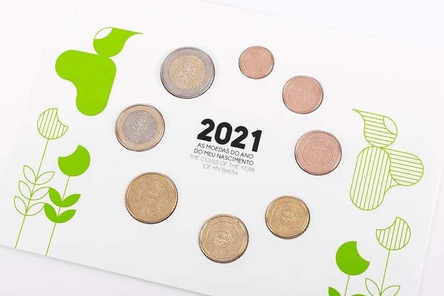 (EUR15.FDC.set.2021.1022807) Uncirculated set Portugal 2021 - Baby birth (obverses) (zoom)