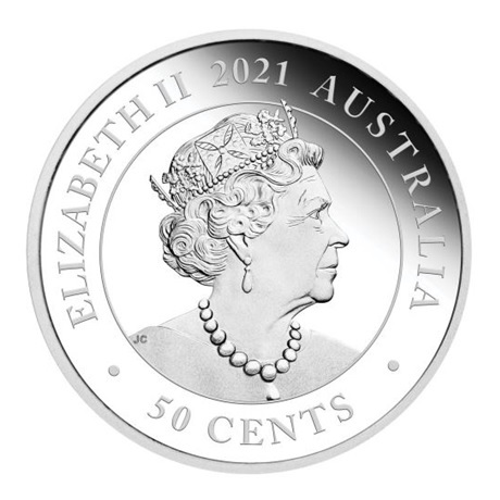 (W017.50.C.2021.21I57AAA) 50 Cents Australie 2021 0,50 once argent BE - Dingo Avers
