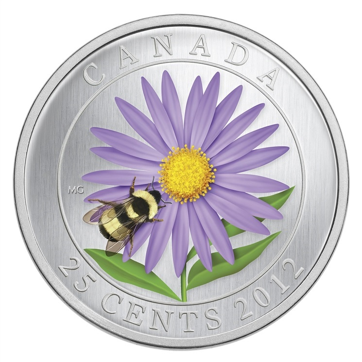 (W037.25.C.2012.118104) 25 Cents Aster with Bumble Bee 2012 BU Reverse (zoom)