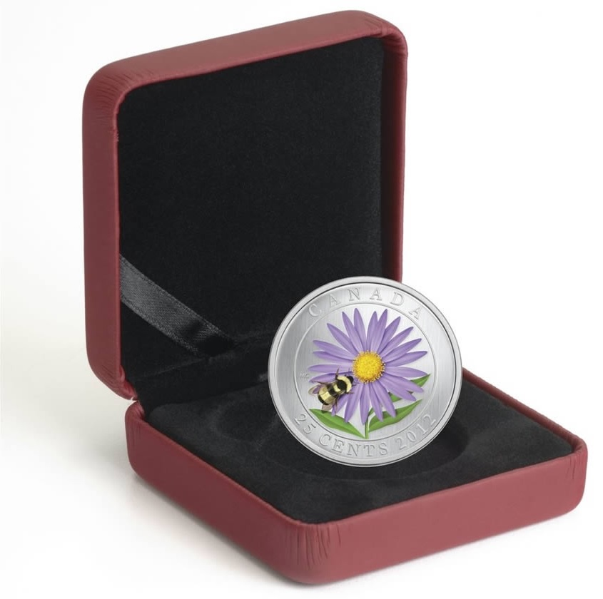 (W037.25.C.2012.118104) 25 Cents Aster with Bumble Bee 2012 BU (case) (zoom)