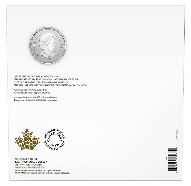 (W037.5.D.2020.176786) 5 Dollars RCMP Canada National Police Force 2020 - BU silver Back (zoom)