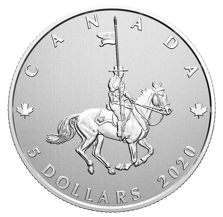 (W037.5.D.2020.176786) 5 Dollars RCMP Canada National Police Force 2020 - BU silver Reverse (zoom)