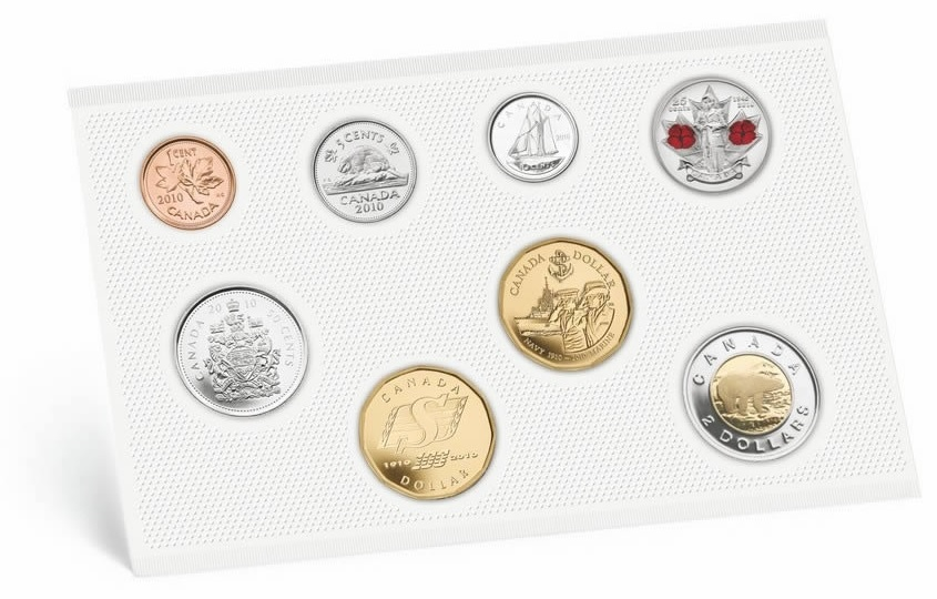 (W037.Unc.set.2010.112032) Uncirculated coin set Canada 2010 (Canadian Navy) (reverses) (zoom)