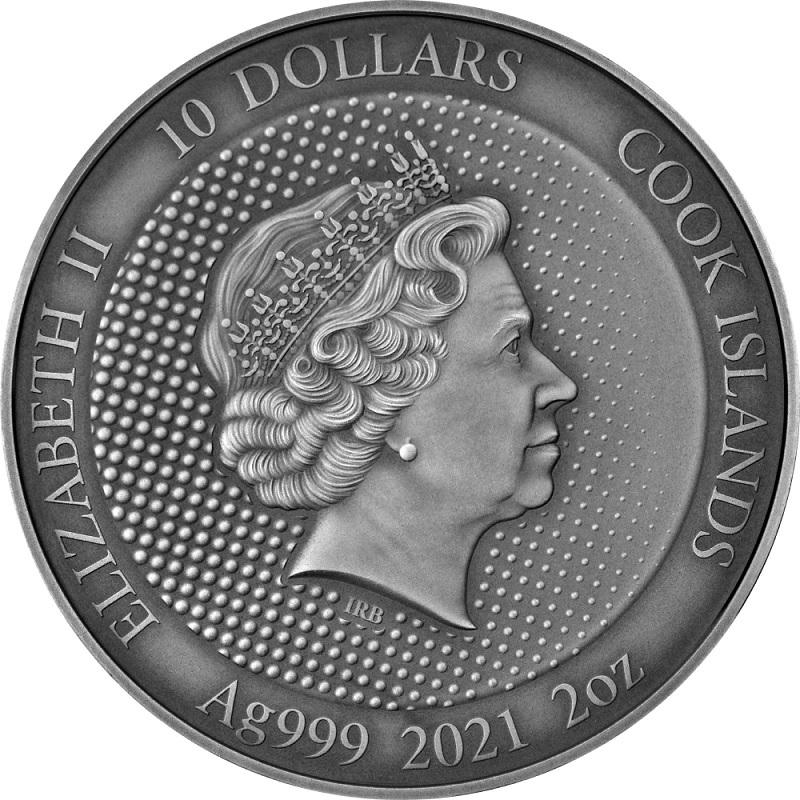 (W099.10.D.2021.CK0550) 10 Dollars Cook Islands 2021 2 oz Antique silver - Batman Obverse (zoom)