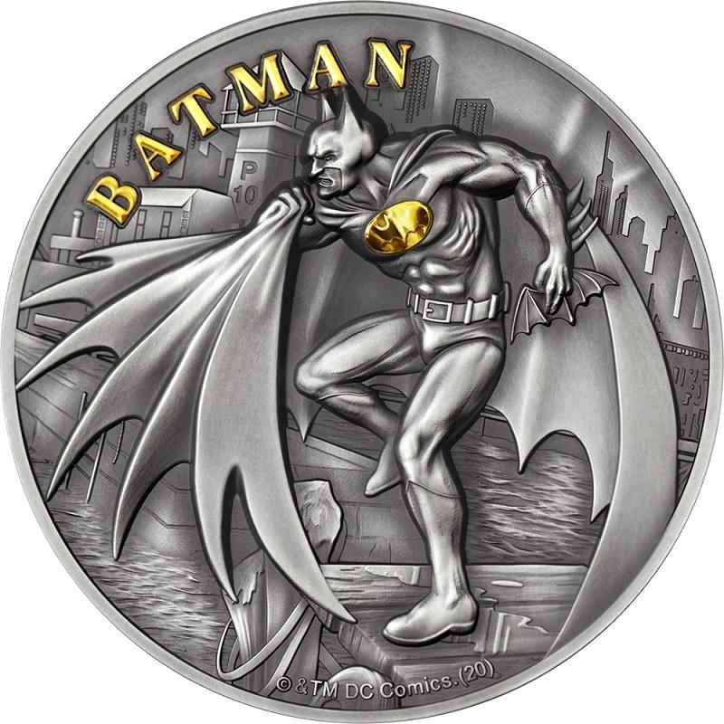 (W099.10.D.2021.CK0550) 10 Dollars Cook Islands 2021 2 oz Antique silver - Batman Reverse (zoom)