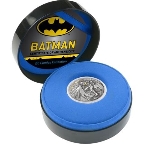(W099.10.D.2021.CK0550) 10 Dollars Iles Cook 2021 2 oz argent Antique - Batman (écrin ouvert)