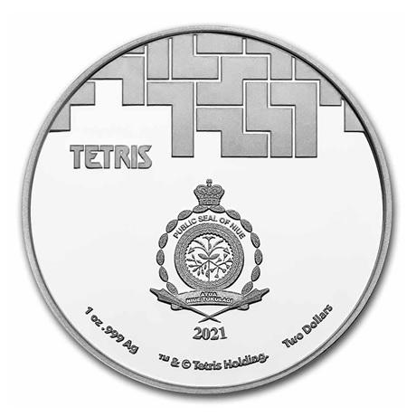(W160.2.D.2021.1.oz.Ag.8) 2 Dollars Niue 2021 1 once Ag BE - Tetris Avers