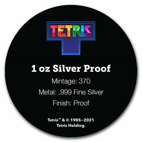 (W160.2.D.2021.1.oz.Ag.8) 2 Dollars Niue 2021 1 oz argent BE - Tetris (verso certificat)