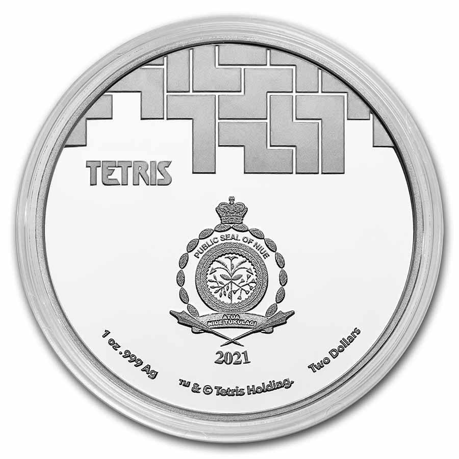 (W160.2.D.2021.1.oz.Ag.8) 2 Niue 2021 1 oz Proof Ag - Tetris Obverse (capsule) (zoom)