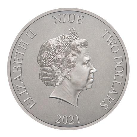 (W160.2.D.2021.30-01088) 2 Dollars Niue 2021 1 once argent Antique - Batmobile de 1997 Avers