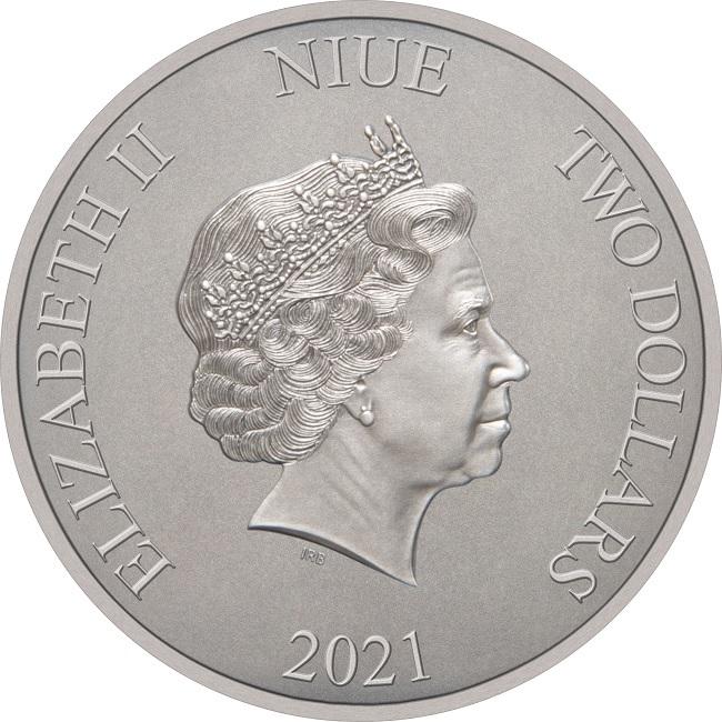 (W160.2.D.2021.30-01088) 2 Dollars Niue 2021 1 oz Antique silver - 1997 Batmobile Obverse (zoom)