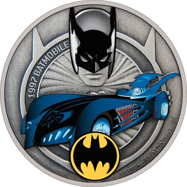 (W160.2.D.2021.30-01088) 2 Dollars Niue 2021 1 oz Antique silver - 1997 Batmobile Reverse (zoom)