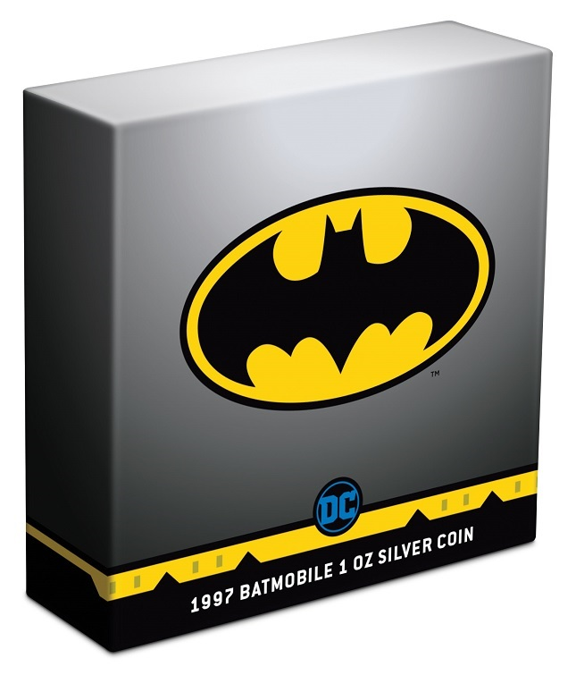 (W160.2.D.2021.30-01088) 2 Dollars Niue 2021 1 oz Antique silver - 1997 Batmobile (box) (zoom)