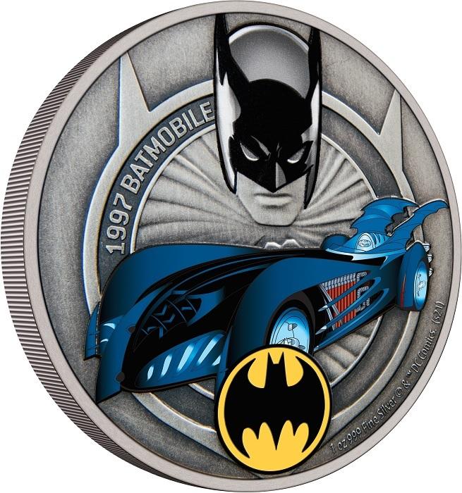 (W160.2.D.2021.30-01088) 2 Dollars Niue 2021 1 oz Antique silver - 1997 Batmobile (edge) (zoom)