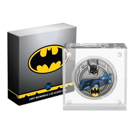 (W160.2.D.2021.30-01088) 2 $ Niue 2021 1 oz argent Antique - Batmobile de 1997 (socle et boîte)