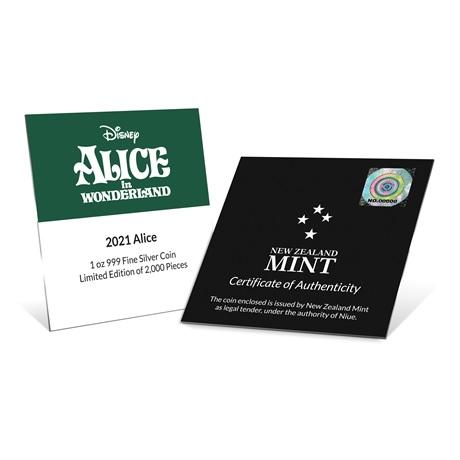 (W160.2.D.2021.30-01090) 2 $ Niue 2021 1 once Ag BE - Alice au pays des merveilles (certificat)