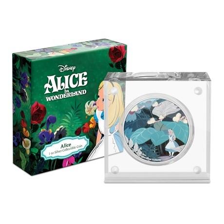 (W160.2.D.2021.30-01090) 2 $ Niue 2021 1 once Ag BE - Alice au pays des merveilles (socle et boîte)