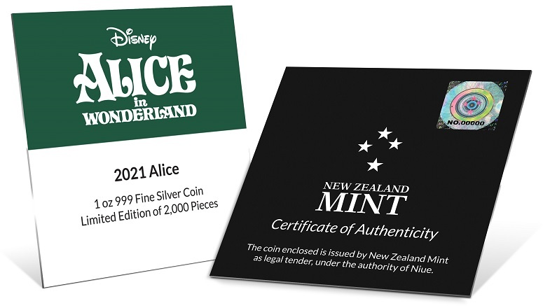 (W160.2.D.2021.30-01090) 2 $ Niue 2021 1 oz Proof silver - Alice in Wonderland (certificate) (zoom)