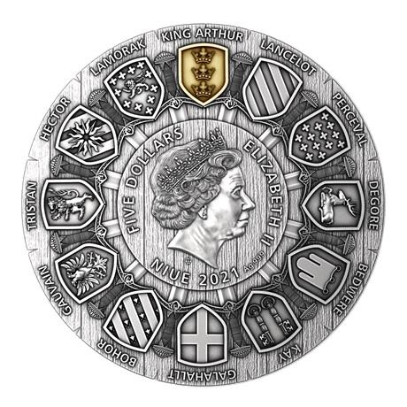 (W160.5.D.2021.2) 5 Dollars Le roi Arthur 2021 - Argent Antique Avers