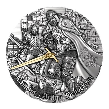 (W160.5.D.2021.2) 5 Dollars Le roi Arthur 2021 - Argent Antique Revers