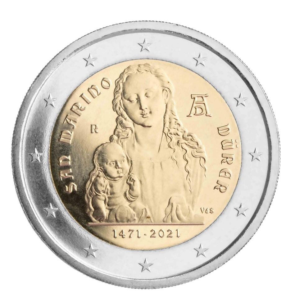 (EUR18.BU.2021.340) 2 euro San Marino 2021 BU - Albrecht Dürer (zoom)