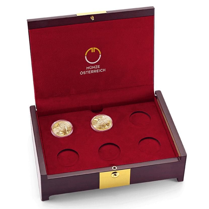 (MATMünzeÖ.case.24299) Collector case Austrian Mint - Magic of Gold (with first 2 coins) (zoom)