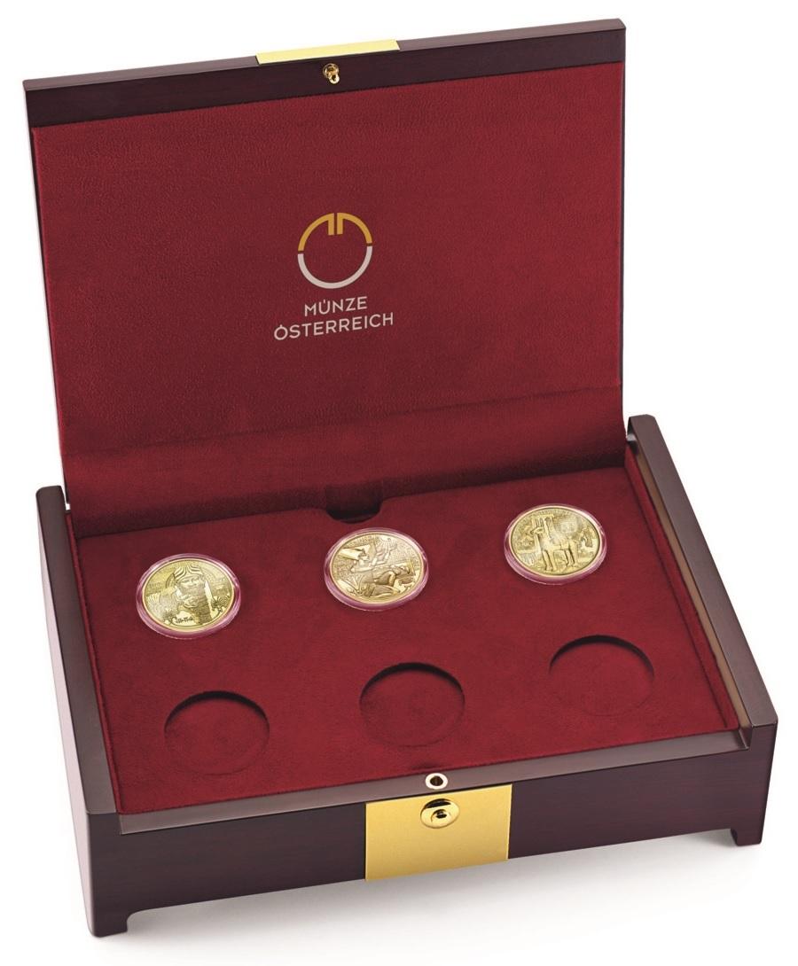 (MATMünzeÖ.case.24299) Collector case Austrian Mint - Magic of Gold (with first 3 coins) (zoom)