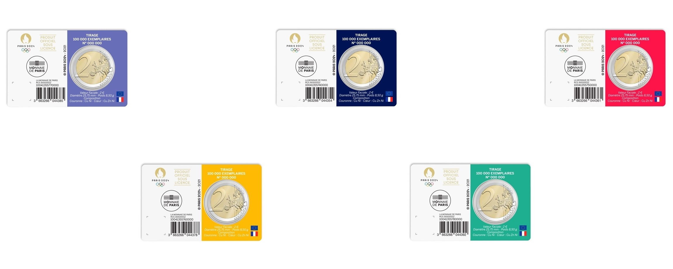 2 euro France 2021 BU - Paris Olympic Games (5 coin cards lot) Back (zoom)