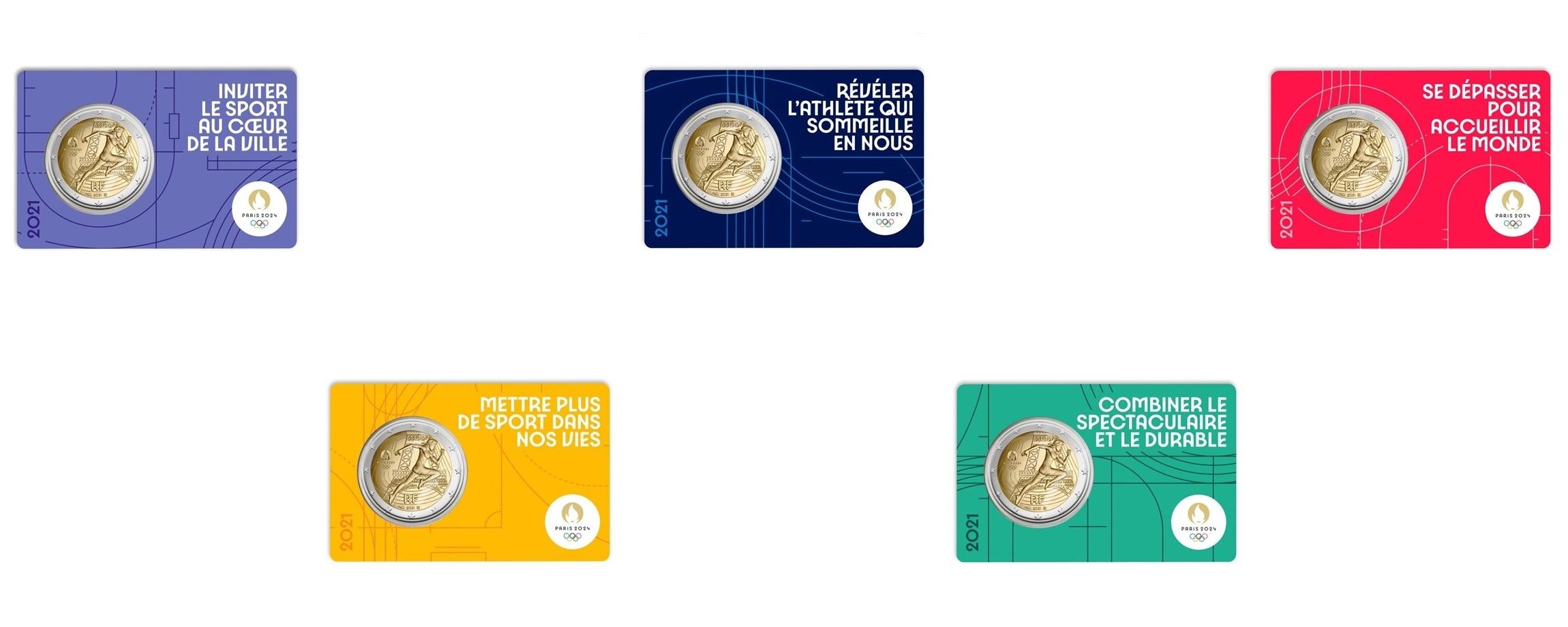 2 euro France 2021 BU - Paris Olympic Games (5 coin cards lot) Front (zoom)