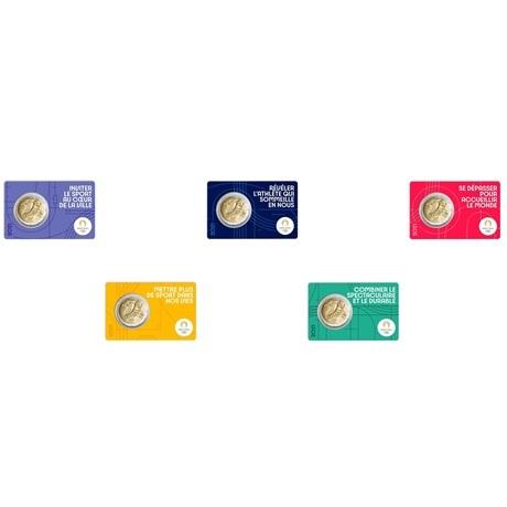2 euro commémorative France 2021 BU - Jeux Olympiques de Paris (série des 5 coin cards) Recto