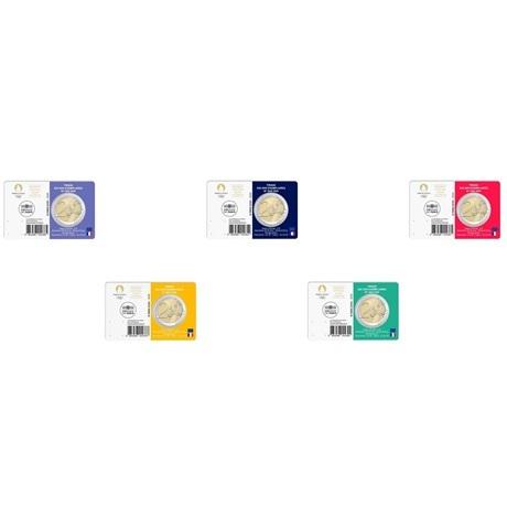 2 euro commémorative France 2021 BU - Jeux Olympiques de Paris (série des 5 coin cards) Verso
