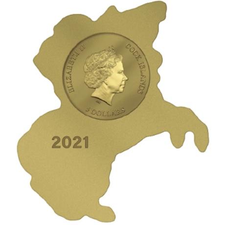 5 Dollars Iles Cook 2021 0,5 gramme or Fini soyeux - Napoléon Bonaparte Avers