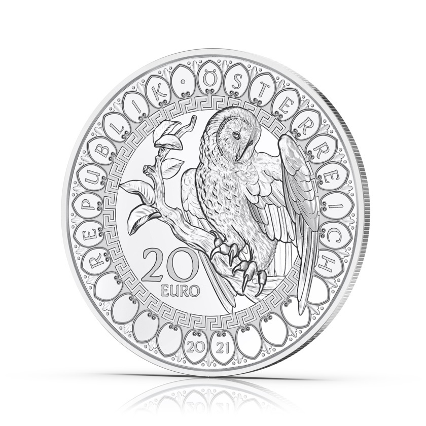 (EUR01.Proof.2021.25152) 20 € Austria 2021 Proof Ag - The Wisdom of the Owl Obverse (zoom)