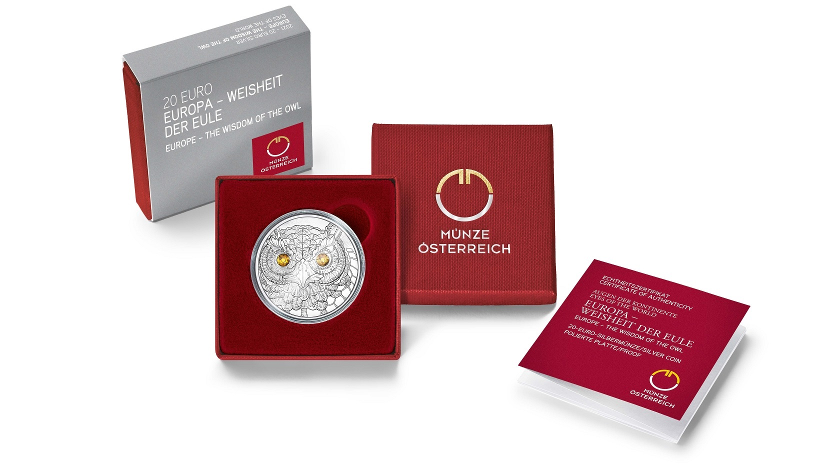 (EUR01.Proof.2021.25152) 20 € Austria 2021 Proof Ag - The Wisdom of the Owl (packaging) (zoom)