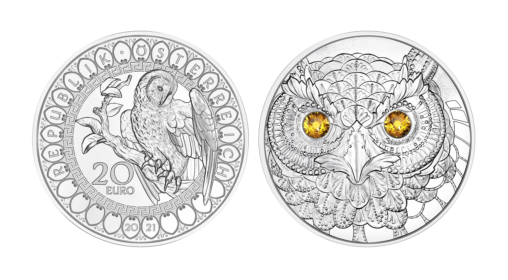 (EUR01.Proof.2021.25152) 20 € Austria 2021 Proof silver - The Wisdom of the Owl (zoom)