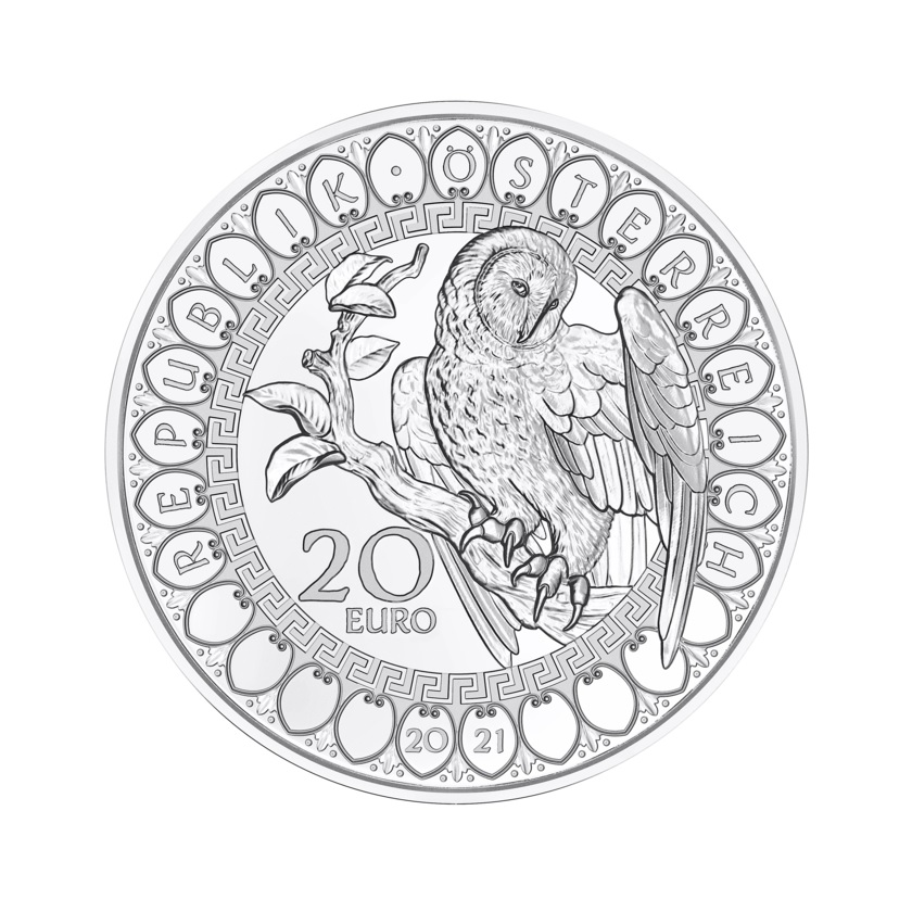 (EUR01.Proof.2021.25152) 20 euro Austria 2021 Proof silver - The Wisdom of the Owl Obverse (zoom)