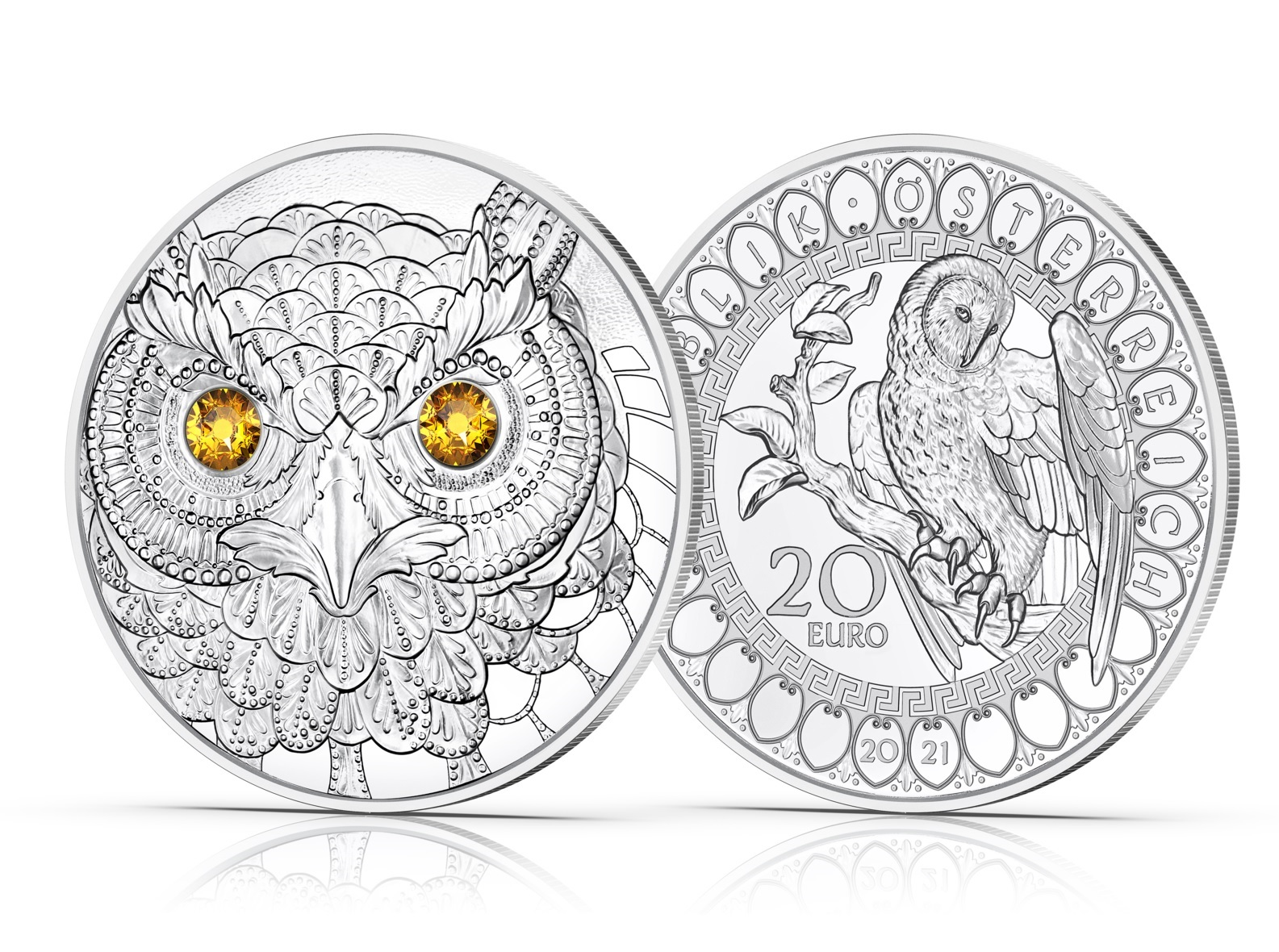 (EUR01.Proof.2021.25152) 20 euro Austria 2021 Proof silver - The Wisdom of the Owl (zoom)