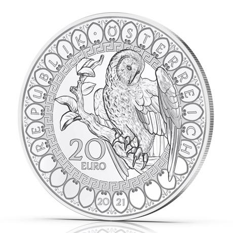 (EUR01.Proof.2021.25152) 20 euro Autriche 2021 Ag BE - Sagesse de la chouette Avers