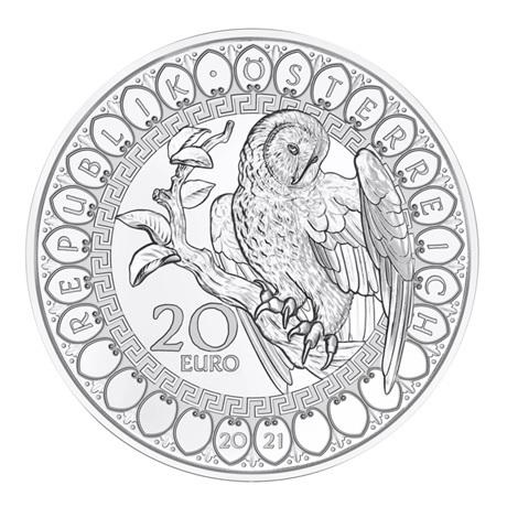 (EUR01.Proof.2021.25152) 20 euro Autriche 2021 argent BE - Sagesse de la chouette Avers