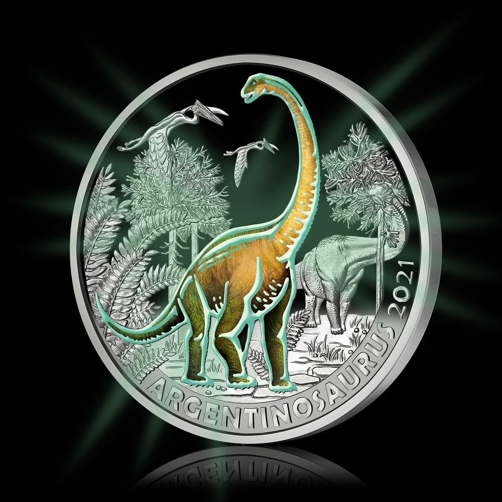 (EUR01.Unc.2021.25153) 3 € Austria 2021 - Argentinosaurus (glow-in-the-dark) (zoom)