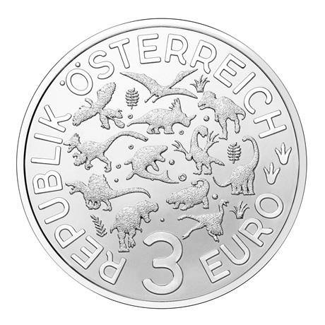 (EUR01.Unc.2021.25153) 3 € Autriche 2021 - Argentinosaure Avers