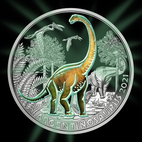 (EUR01.Unc.2021.25153) 3 € Autriche 2021 - Argentinosaure Revers (brillant dans le noir)