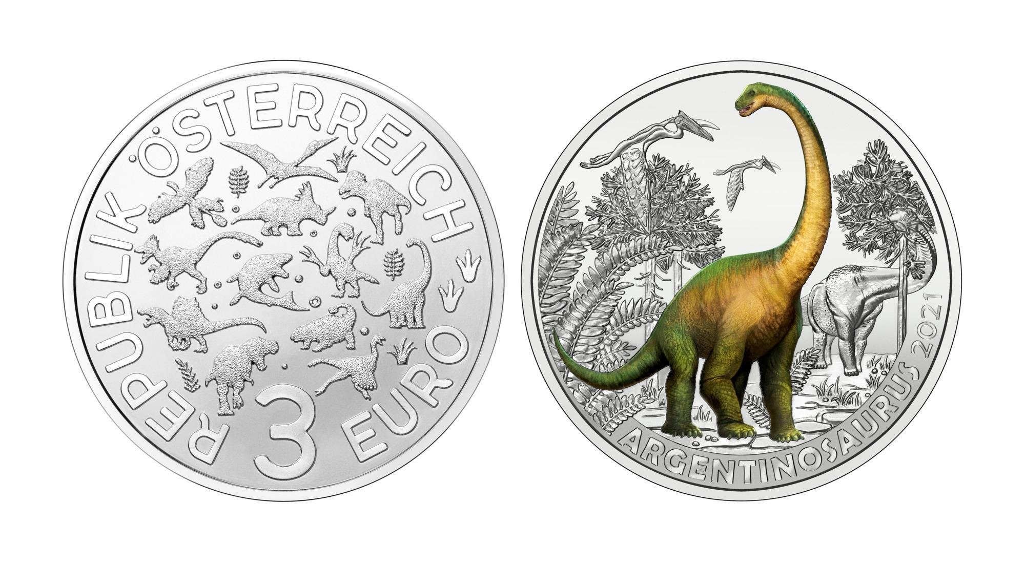 (EUR01.Unc.2021.25153) 3 euro Austria 2021 - Argentinosaurus Huinculensis (zoom)
