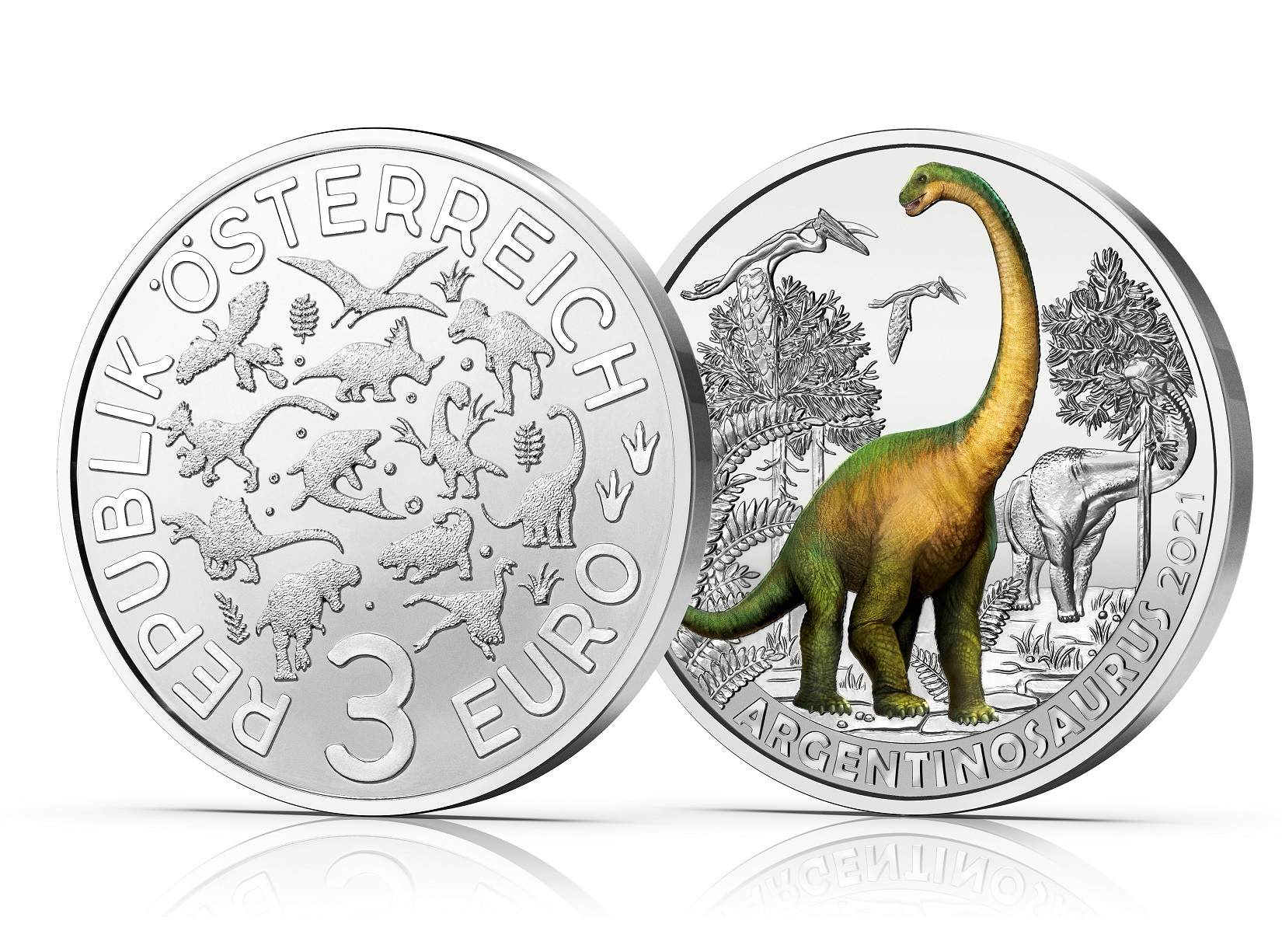 (EUR01.Unc.2021.25153) 3 euro Austria 2021 - Argentinosaurus (zoom)