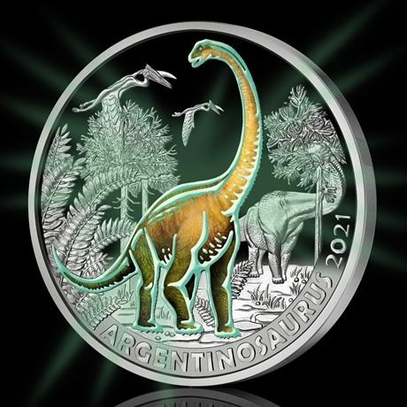 (EUR01.Unc.2021.25153) 3 euro Autriche 2021 - Argentinosaure Revers (brillant dans le noir)