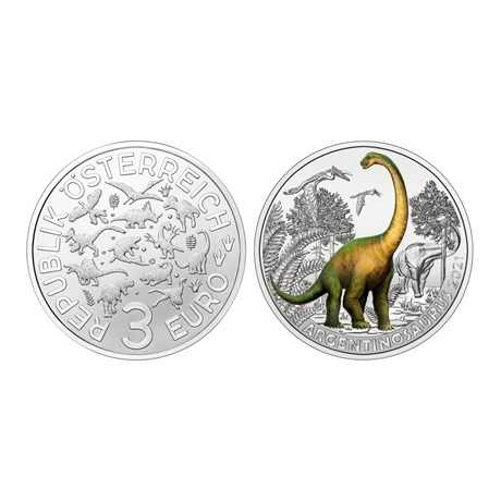 (EUR01.Unc.2021.25153) 3 euro Autriche 2021 - Argentinosaure
