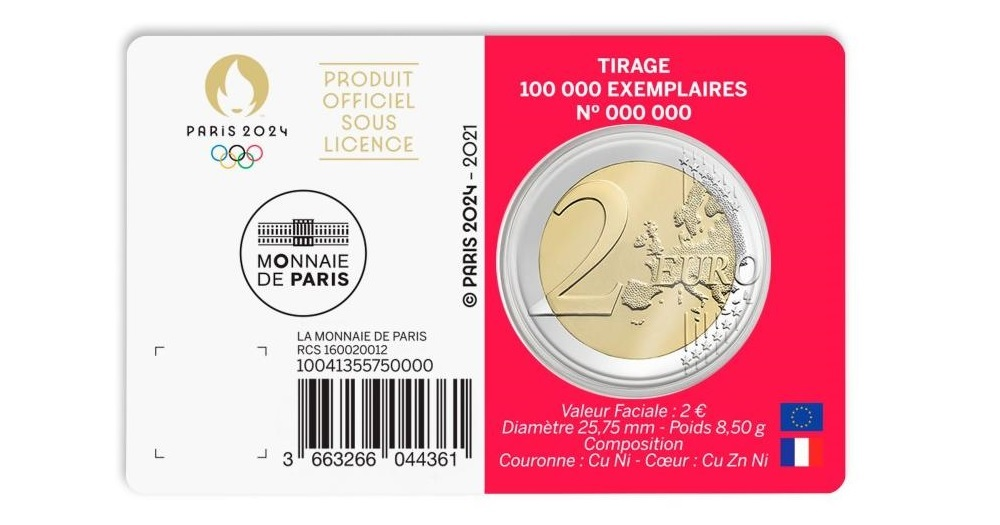 (EUR07.BU.2021.10041355750000) 2 euro France 2021 BU - Paris Olympic Games Back (zoom)