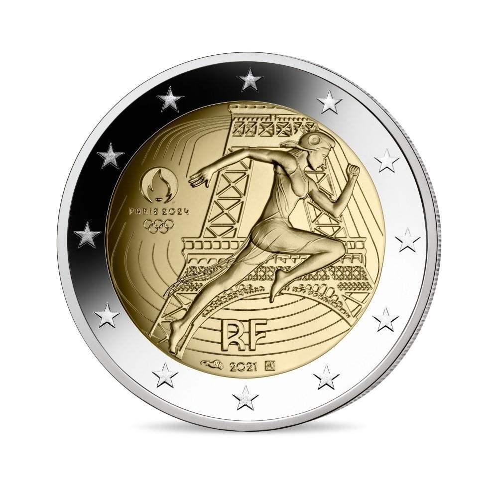 (EUR07.Proof.2021.10041355730000) 2 euro France 2021 Proof - Paris Olympic Games Obverse (zoom)